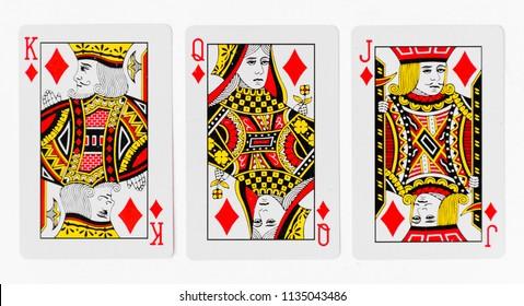 Spielkarten volles Deck und zurück weißes Hintergrundmodell