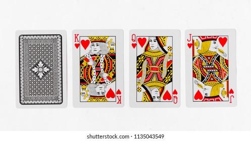 Spielkarten König Kartensuite und zurück weißes Hintergrundmodell