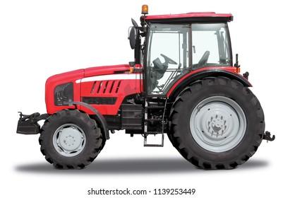 Roter Traktor von einer Seite, lokalisiert auf weißem Hintergrund