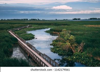 Schöne Aussicht auf den Sumpf und die Promenade im Point Pelee Nationalpark; Fluss schlängelt sich ruhig in die Ferne; Atemberaubender Himmel und Landschaftsaufnahme; Point Pelee, Ontario, Kanada
