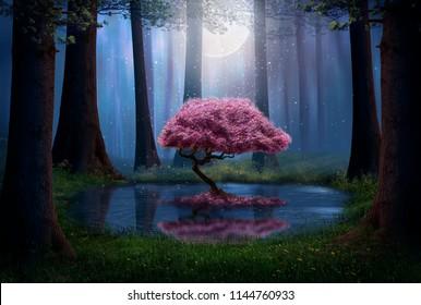 ピンクの木と夜の森の池。写真編集。