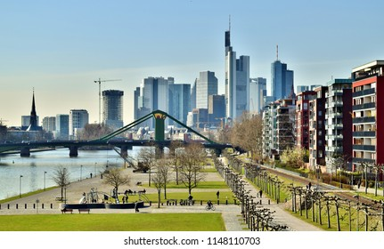 Riverside Park, Pedestrian Bridge, and Downtown Frankfurt's Glitzy Skyline - Frankfurt, Germany (Summer)