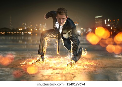 Superhero Businessman with fire effects