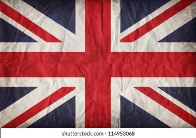 Union Jack auf zerknittertem Papierhintergrund. Vintage-Effekt