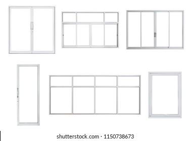 Echte moderne Fenster gesetzt lokalisiert auf weißem Hintergrund, verschiedene Bürofrontstore Rahmenkollektion für Design, Außengebäude Aluminiumfassadenelement