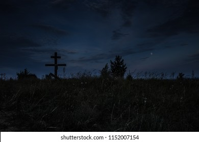 night old throw Tomb of the Unknown Soldier- dark landscape .resident evil scene on night cemetery