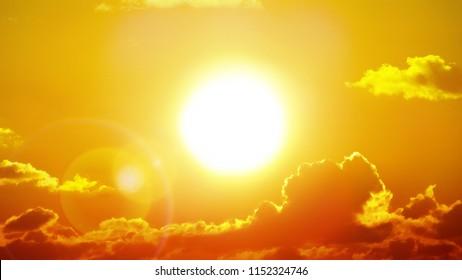 Hitzewelle heiße Sonne. Klimawandel. Globale Erwärmung.