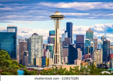 Skyline der Innenstadt von Seattle, Washington, USA.