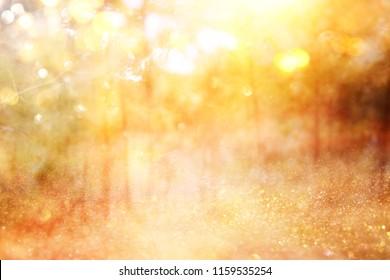verschwommenes abstraktes Foto des Lichts platzte zwischen Bäumen und glitzernden goldenen Bokehlichtern