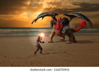 Caballero luchando dragón