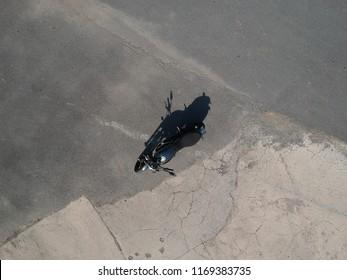 Ducati Scrambler Motorcycle bovenaanzicht Drone Shots