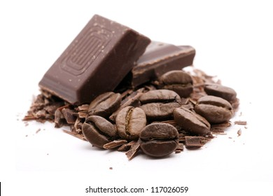 chocolate with coffee on white