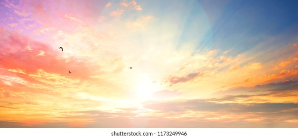 Celestial World concept:Sunset / sunrise with clouds