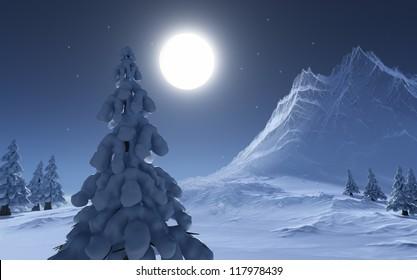 Invierno - render CG. Montaña de hielo, árbol de nieve y luna llena / Noche de invierno / CG