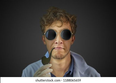 Real cool looking scientist with a Smoking pipe in a white robe and black sunglasses in the center on a dark wall background