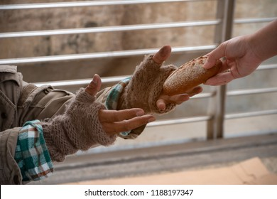 Close up hand forwarding bread to starving beggar. Close up hand sharing food for homeless. Close up dirty hands of poor people wearing knitting glove, receiving bun from kind people. Sharing concept.