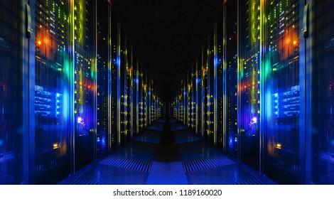 Plano del corredor en un gran centro de datos de trabajo lleno de servidores en rack y supercomputadoras.