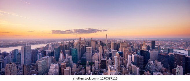 aerial view cityscape of modern city in new york