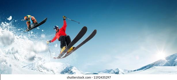 Skifahren. Snowboarden. Extremer Wintersport.