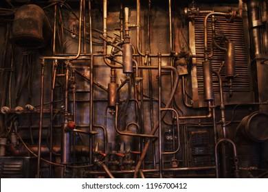 Tubo de cobre. Comunicación difícil, retro, textura muchas tuberías.