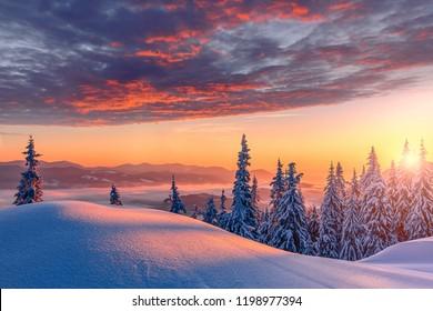 Fantastisch winterlandschap tijdens zonsondergang. kleurrijke hemel die door zonlicht gloeit. Dramatische winterse scène. besneeuwde bomen onder warme zonovergoten. Zonlicht fonkelt in de sneeuw. Schitterende alpiene winter