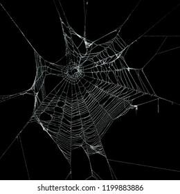 Echtes frostbedecktes Spinnennetz isoliert auf Schwarz