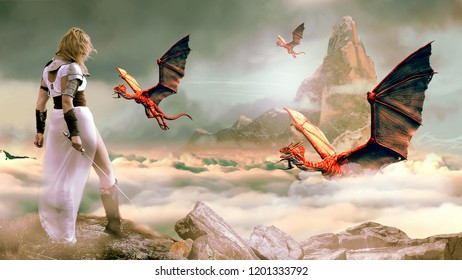 Conceptual montage of medieval warriors fighting monsters.
