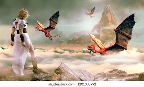 Montaje conceptual de guerreros medievales luchando contra monstruos.