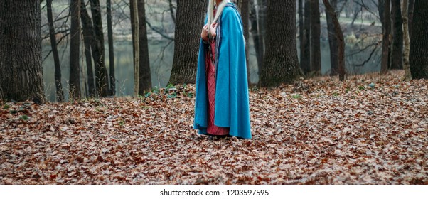 a girl with long hair, blonde,in a blue cape and a pink dress, walks through the autumn forest, along the yellow foliage of fallen leaves. A girl's sheath hangs on her belt.