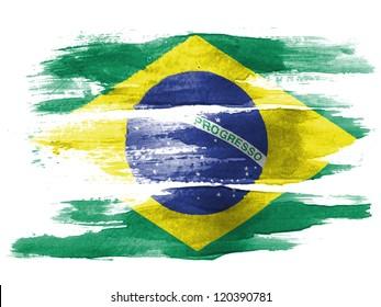 水彩で白い紙に描かれたブラジルの国旗