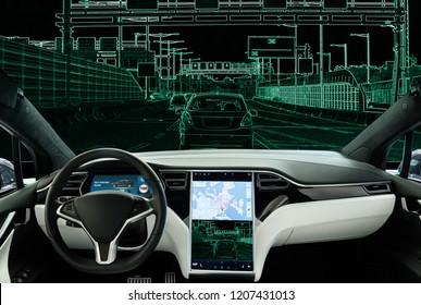 Selbstfahrendes Auto auf einer Straße. Vision des Roboters