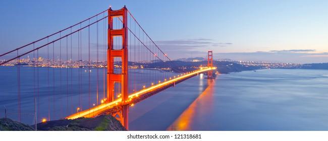 Panorama photo of Golden Gate Bridge at night time, San Francisco, USA