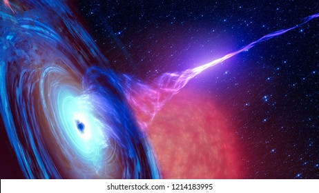Abstract space wallpaper. Black hole with nebula over colorful stars and cloud fields in outer space. Elements of this image furnished by NASA.