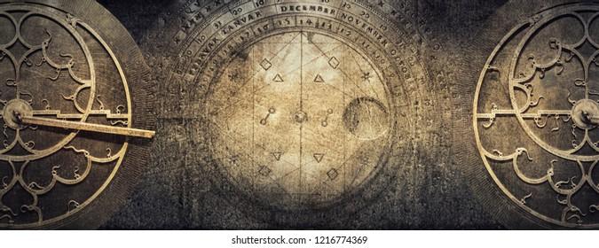 Instrumentos astronómicos antiguos sobre fondo de papel vintage. Fondo conceptual antiguo abstracto sobre historia, misticismo, astrología, ciencia, etc. Estilo retro.