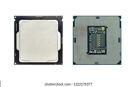 Unidad central de procesamiento, chip CPU x64 procesador de muchos núcleos con Hyper-Threading, aislado sobre fondo blanco con trazado de recorte