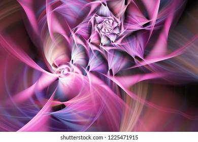 抽象的なエキゾチックなピンクの花。ビューを閉じます。ファンタジーフラクタルデザイン。サイケデリックなデジタルアート。3Dレンダリング。