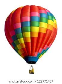 白い背景で隔離の熱気球