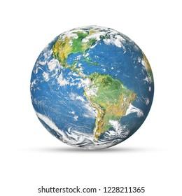 白い背景で隔離の地球。NASAから提供されたこの画像の要素