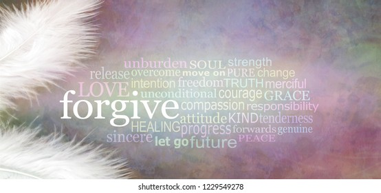Angelic forgive Word Cloud Rustic Banner  - two white feathers with a FORGIVE word cloud between against a dark stone effect multicoloured rustic grunge background