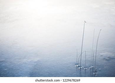 Ondergaande zon op een koude winterdag boven een bevroren meer, het crèmewit en blauw schilderen