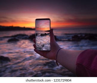 Amazing sunset colors and Samsung Galaxy phone