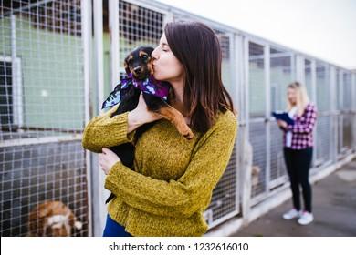 避難所から養子縁組する犬を選ぶ労働者と若い女性。
