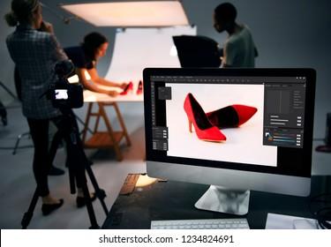 Sesión de fotografía de producto de zapatos.
