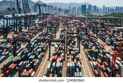 Aerial view of colorful container terminal, trade Industry Hong Kong China