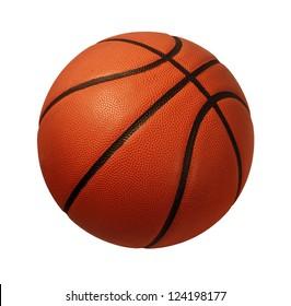 Basketball lokalisiert auf einem weißen Hintergrund als Sport- und Fitnesssymbol einer Teamfreizeitaktivität, die mit einem Lederball spielt, der in Wettkampfturnieren dribbelt und vorbei geht.