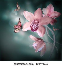 Orchids with a butterfly on the coloured background