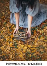 La caja de Pandora libera el mal y la enfermedad, un terrible castigo de los dioses entró en acción, una niña de cabello negro está vestida con un vestido gris anticuado, el arte está procesando una foto sin rostro