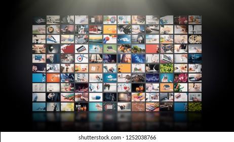テレビストリーミングビデオのコンセプト。メディアTVビデオオンデマンドテクノロジー。インターネットストリーミングマルチメディアショー、シリーズを備えたビデオサービス。画面の抽象的な構成のデジタルコラージュの壁