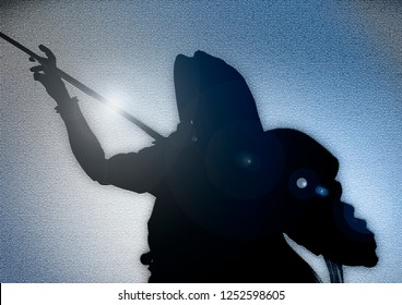Fantasy sword warrior man portrait silhoutte. Sephiroth with katana and long hair silhoutte background