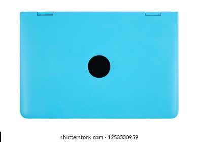 Closed blue laptop with a place for the logo top view